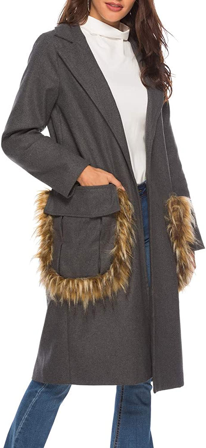 Winter Faux Fur Coats for Womens Cashmere Big Pocket Overcoat Outwear Parka
