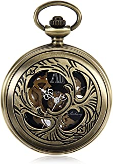 Retro Nostalgic Pocket Watch Green Bronze Hollow Clockwork Mechanical Watch Black Dial Men's Wall Watch A Nice Gift Vintage Pocket Watch (Color : Bronze, Size : 4.7x1.5cm)
