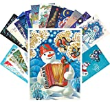 Vintage Christmas Greeting Cards 24pcs Russian USSR New Year Greetings с новым годом REPRINT Postcard Set