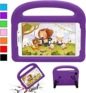 YooNow Samsung Tab 3 Cases for Kids Tab 3 Lite Tab 4 7.0 Case Tab E Lite 7.0 Case Kids Shock Proof Durable Silicone Protective Case Cover with Carry Handle for Galaxy Tablet 3/3 Lite 7 Inch (Purple)