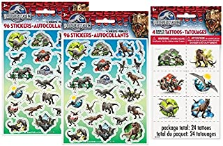 Jurassic World Stickers & Tattoos ~ 8 Sticker Sheets and 24 Tattoos ~ Party Favors