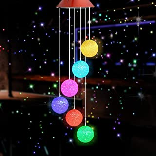 Amkei Solar Wind Chimes Outdoor, Crystal Ball Wind Chime with Colorful Changing LED Light Waterproof Hanging Solar Mobile Lamp Gifts for Home/Party/Christmas Tree Decoration