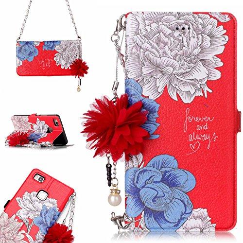 Huawei P9 Lite 花柄 手帳型 ケース, CrazyLemon PUレザー 綺麗 白い 青い バラ 赤い 手帳型ケース 花 ストラップ 付き ファーウェイp9lite 財布型 ケース 1枚 カードホルダー マグネット 横置き 機能 防塵 耐衝撃 - 柄04