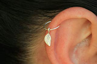Hoop Earring, 22 gauge 925 Sterling Silver Cartilage hoop with leaf Charm,Tiny Cartilage Ring,Cartilage earring,Tragus earring,Helix ring,piercing earring