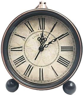 JUSTUP Tyst bordsklockor, 13 cm tickar inte gammaldags retro stil väckarklocka med kvartsrörelse batteridriven, HD glaslin...