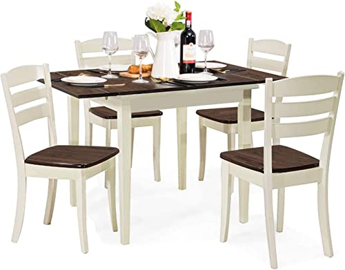 lowest Giantex popular 5-Piece Dining Table Set with Folding Tabletop, Wood Kitchen Table and 4 Chairs Set, Modern Extendable Dining Table 31.5 Inch popular to 47.5 Inch, Compact Dinette Set for Small Space, Apartment outlet online sale