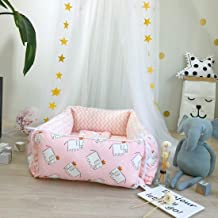Infant Shining Baby Nest Crib Bionic Bed Safety Sleeping Cotton Breathable 2PCS Pillow Bed for 0-3Years Elephant-Pink