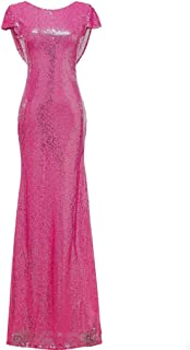 SOLOVEDRESS Women's Mermaid Sequined Long Evening Dress Formal Prom Gown Bridesmaid Dresses