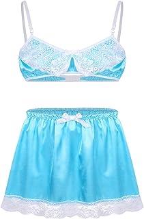 Freebily Men's Ruffle Lace Bra Top Girly Skirted Knickers Xdress 2 Piece Sissy Lingerie Set