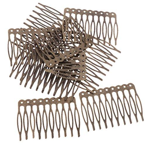 MagiDeal 10 Pezzi Pettine in Metallo Vintage per Accessori per Capelli da Sposa Fai da Te Bridal Hair - Bronzo 5,6 cm