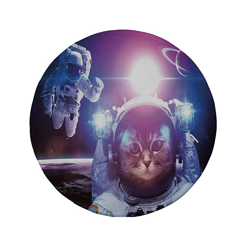 Non-Slip Rubber Round Mouse Pad,Space Cat,Astronauts in Nebula Galaxy with Eclipse in Saturn Planets Image,Dark Blue White and Purple,11.8