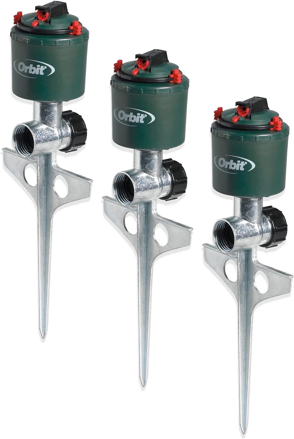 毎日続々入荷 Orbit 3 Pack Compact Gear Driven Sprinkler on Sturdy Spike 直送商品 Lawn