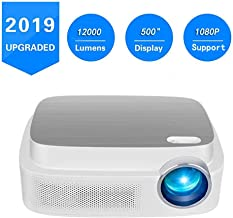 Portable Projector -12000 lumens WiFi 1080p Video Projector LCD LED Full HD Theater Projector, Ideal for Home Entertainment (Eq7-White)