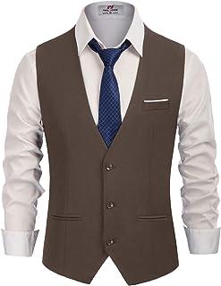 PJ PAUL JONES Men's Slim Fit Business Dress Suit Vests 3 Button Formal Waistcoat - brown - Large