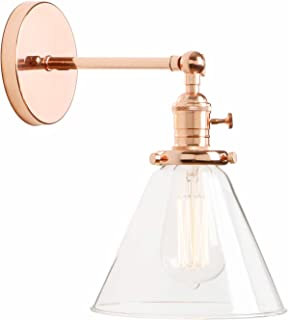 Permo Single Sconce with Funnel Flared Glass Clear Glass Shade 1-Light Wall Sconce Wall Lamp (Rose Gold)