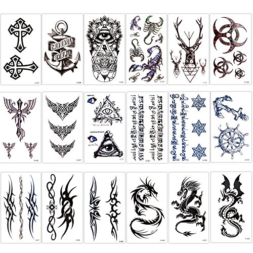 Konsait Temporary Tattoo Kit for Adults Kids Women Men(18 Sheets), Temporary Tattoo Stickers Paper Fake Tattoo Paper Body Sticker Set for Party Favors,Dragon Eye Deer Head Geometric Vine Chakra