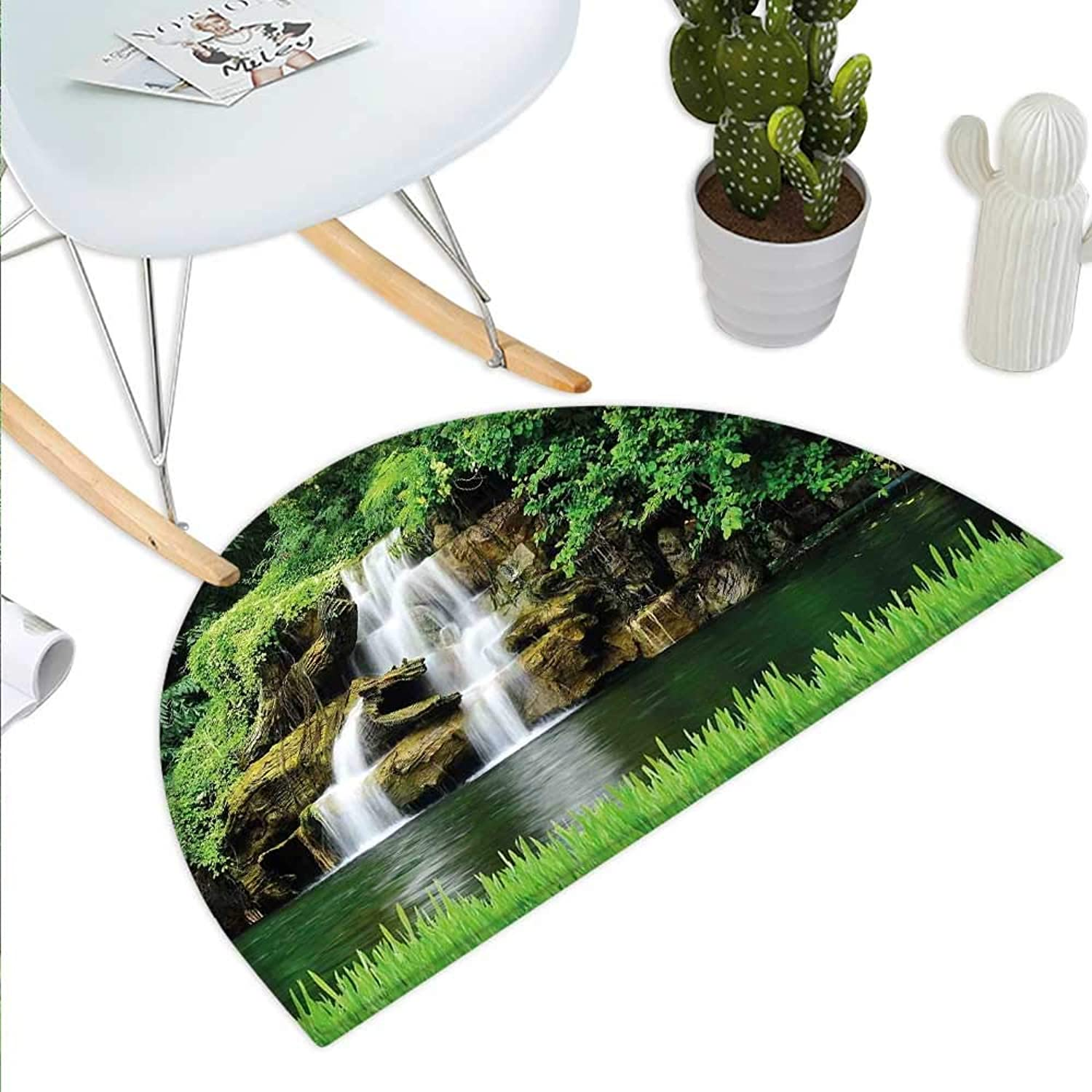 Waterfall Semicircle Doormat Double Waterfalls Flow to Natural Green Lake with Bushes and Grass Like Garden Print Halfmoon doormats H 35.4  xD 53.1  Green