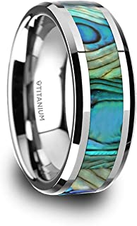 Thorsten Kaui | Titanium Rings for Men | Lightweight Titanium | Comfort Fit | Titanium Polished Finish Mother of Pearl Inlaid Beveled Wedding Band - 8 mm