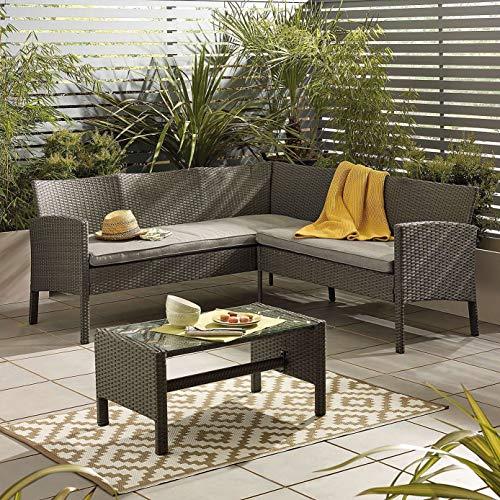 Outdoor Living Lakewood Grey Corner Lounge Sofa Rattan Set