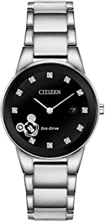 Eco-Drive Disney Quartz Womens Watch, Stainless Steel, Mickey Mouse, Silver-Tone (Model: GA1051-58W)