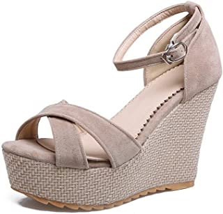 BalaMasa Womens ASL06244 Pu Wedge Heels