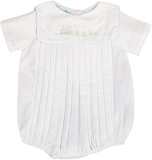 Petit Ami Baby Boys' Square Collar Romper with Train Embroidery