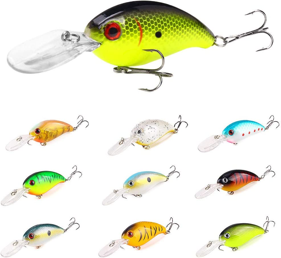 Details about  /5Pcs//Set Fishing Lures ABS Plastic Sinking Crankbaits With Eyes Three Treble