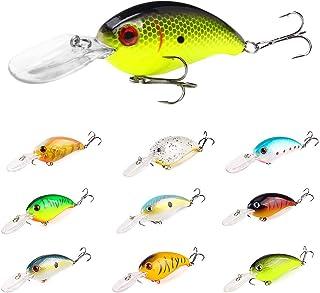 INTSUN Crankbaits Fishing Lures Set, Lifelike Bass Lures, Treble Hooks 3D Eyes Swimbait Hard Baits with Deep/Shallow Diver...