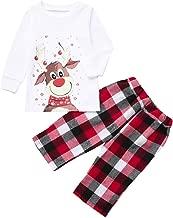 Matching Set Family Christmas Pj Pajamas Holiday Xmas Soft Cotton Clothes Sleepwear Cartoon Deer Blouse + Plaid Pants