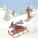 Racing Chiens une Luge et le ski d'hiver de Noël Serviettes de table en papier...