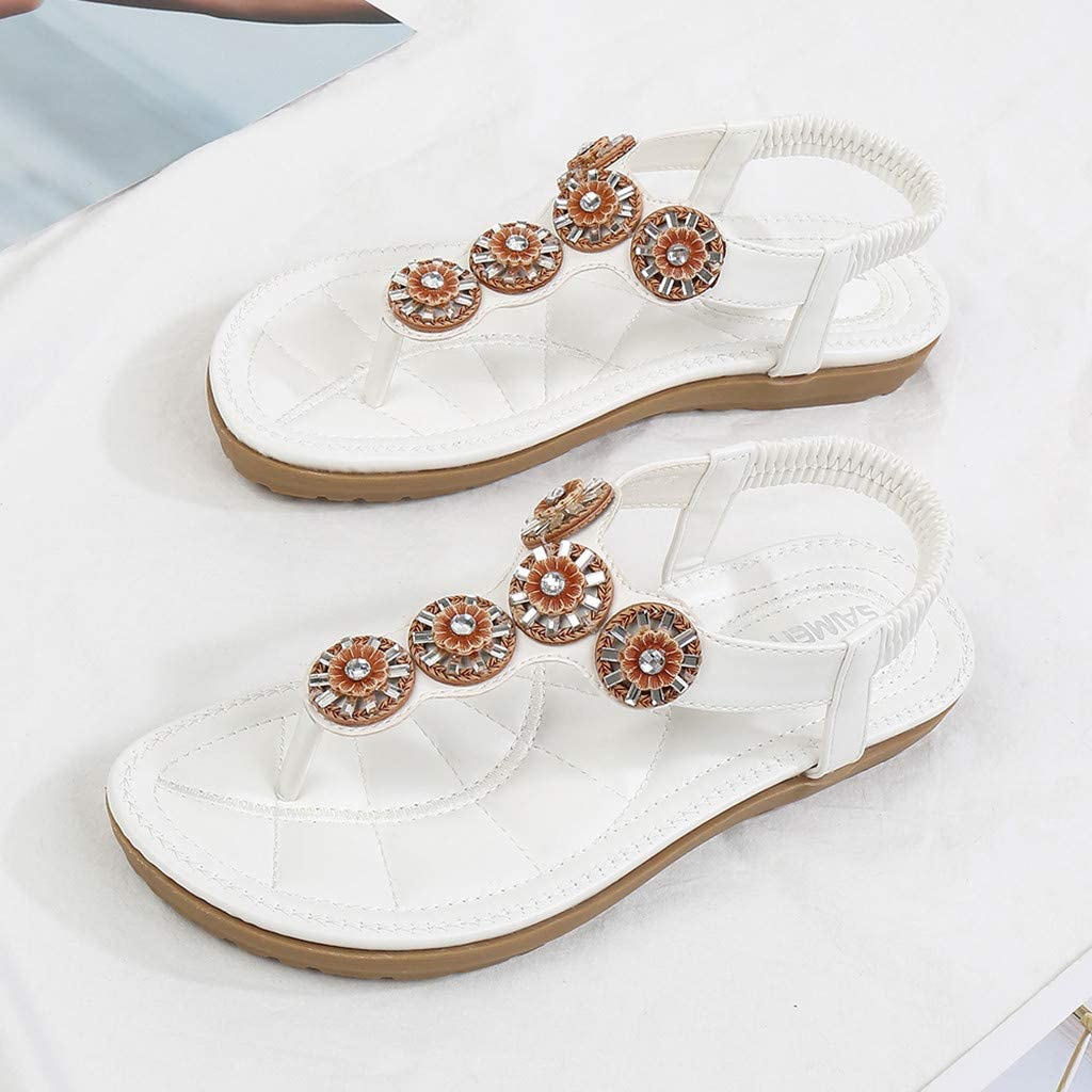 TEELONG Women's Summer Sandals, Ladies Fashion Faux Crystal Floral Flip Flops Casual Beach Sandals Stylish Flatform Low Heels Comfy Sandals Summer Shoes Size 3.5-7 UK White