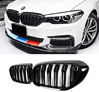 SNA Gloss Black ABS Front Kidney Grille with Double Slats Mesh Grill Compatible for BMW 5 Series G30 (2017-2019) 2-pc Set