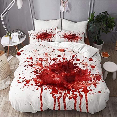 ALLMILL Bedding Bedrucktes Bettbezug-Sets,Blutfleck,Mikrofaser Kinder Student Schlafsaal Bettwäsche Set (1 Bettbezug + 2 Kissenbezüge)
