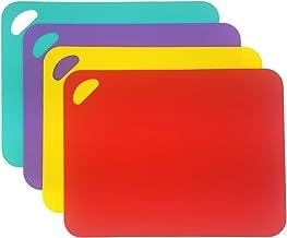 Juego de 4 Tablas de Cortar Cocina Plastico, Tabla de Cocina para Cortar con Código de Color Antibacteriano Tabla de Cocina Polietileno, Aptas para Lavavajillas 34 x24cm