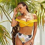 Luckly Conjunto de Bikini para Mujer 2 Piezas Cintura Alta Halter de Traje de baño Mujer Amarillo Estampado Bañadores V Profundo Ropa de Playa con Ajustable Top de Halter y Bragas de Talle Alto,XL