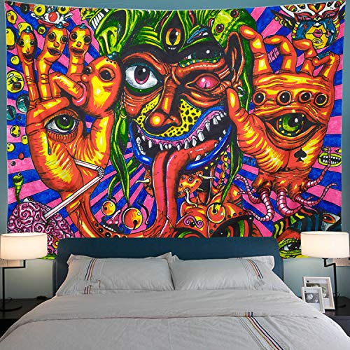 Leofanger Psychedelic Arabesque Tapestry Bohemian Tapestry Wall Art Multiple Color Hippie Tapestry Abstract Tapestry Fantasy Fractal Tapestry for Meditation Bedroom Living Room Decor