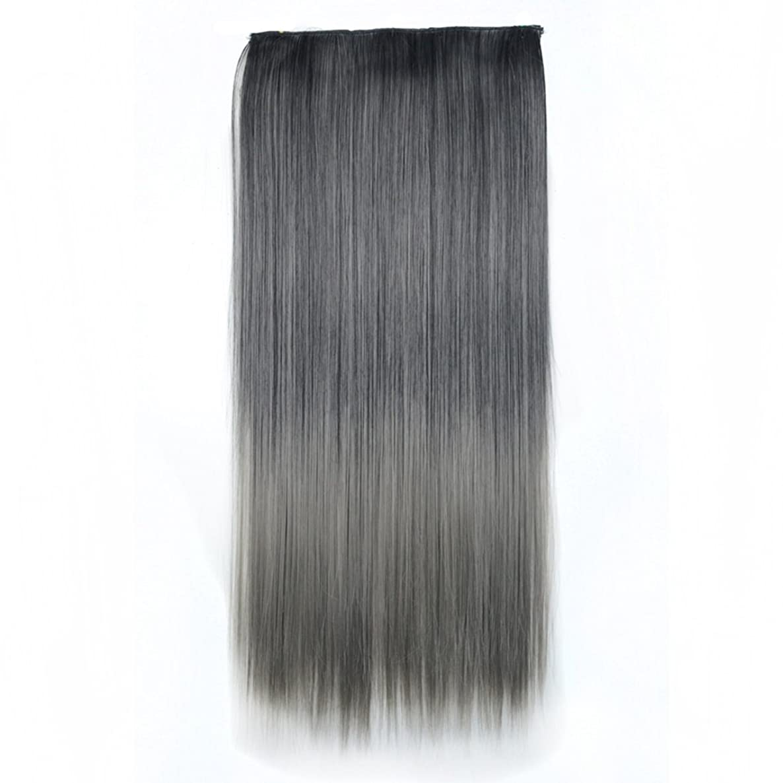 ファーザーファージュアリ郵便JIANFU 合成ヘアエクステンションヘアカラーグラデーションウィッグピースで5クリップロングストレートヘアピース60cm (Color : Black gradient light granny ash)