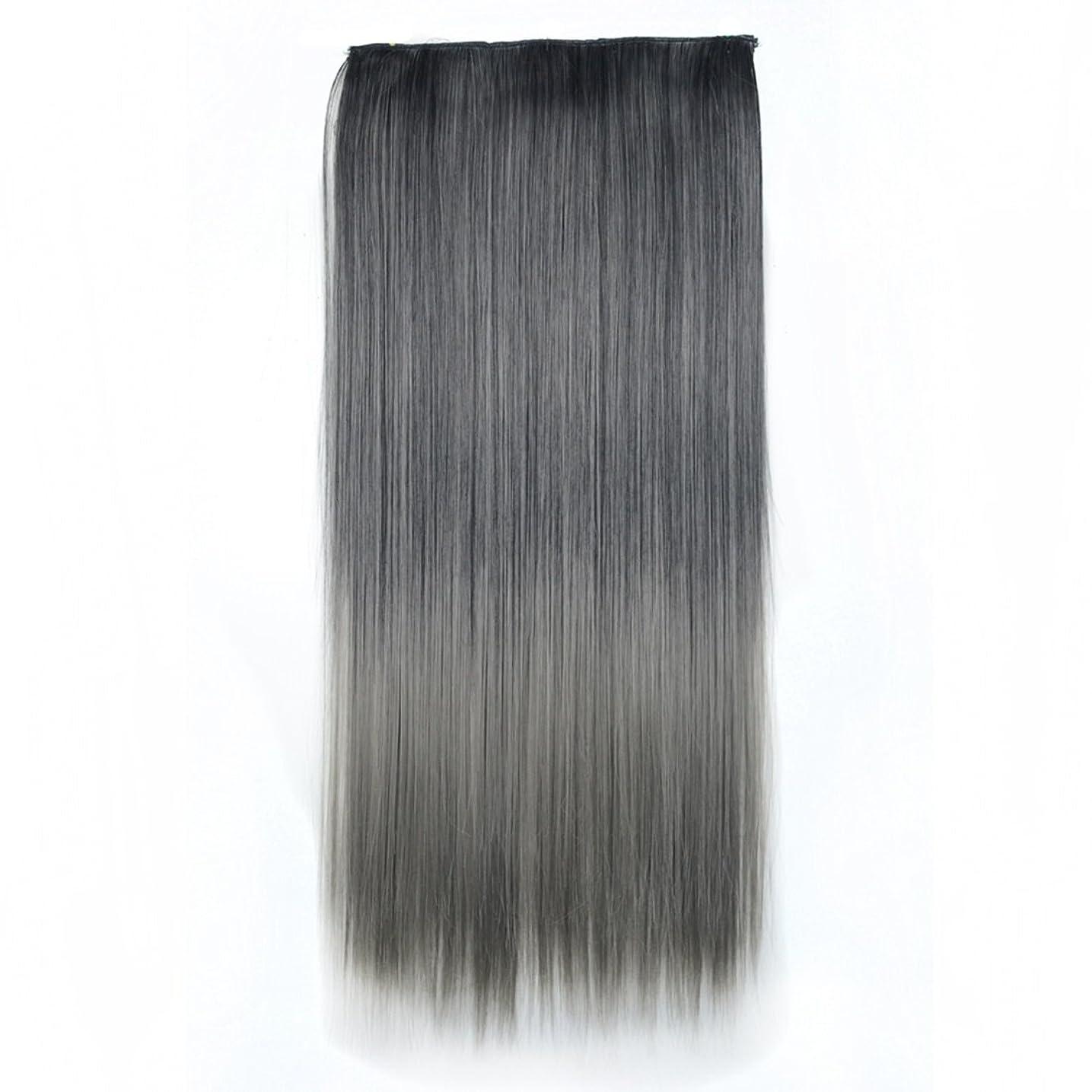 凝縮する男インフルエンザJIANFU 合成ヘアエクステンションヘアカラーグラデーションウィッグピースで5クリップロングストレートヘアピース60cm (Color : Black gradient light granny ash)