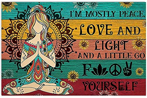 Hippie Yoga Girl I'm Mostly Peace Love and Light and A Little Go Fvck Yourself Art Canvas 0.75 Inch Print Size 8x12, 12x18, 16x24, 24x36 Inches