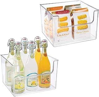 mDesign bac de rangement pour frigo, étagère ou congélateur (lot de 2) – bac alimentaire avec grande ouverture en plastiqu...