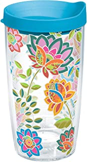 Tervis 1176072 Boho Floral Chic Tumbler with Wrap and Turquoise Lid 16oz, Clear - Drain Snake