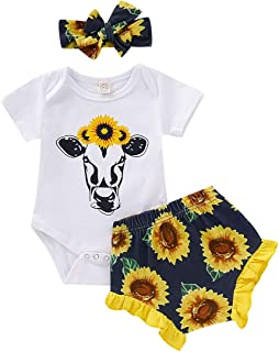 Infant Baby Girls Sunflower Outfits Cartoon Animal Cow Long Sleeve Romper+Ruffle Floral Pants 3Pcs Clothes Set