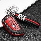 ontto Funda Carcasa Protectora para Llave de Coche para BMWX1 X3 X5 X7 F15 F48 X6 F15 F86 G30 Serie 1 2 5 7 F21 218i 530li con Llavero Cubierta de TPU Remoto Mando Coche 4 Botones-Rojo