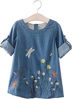 JUXINSU Girl Long Sleeve Denim Cotton Dress Flower Autumn and Winter Casual Wear for 2-7 Years LH613