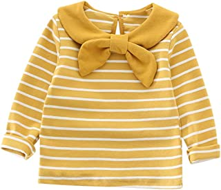 Baby Girl Peter Pan Collar Polo Shirt Clothes Toddler Kids Striped Tops Cute Bowknot Long Sleeve Basic Plain Blouse