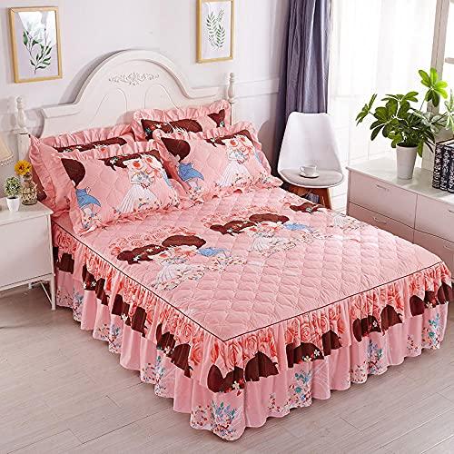 CYYyang Protector de colchón, algodón, poliéster, Sábana Gruesa de Encaje con Falda de cama-24_120 * 200cm