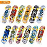 TIME4DEALS Mini Fingerboard Finger Skateboards Toy 12 PCS Professional Fingerboards Finger Toy Set Creative Fingertips Movement Party Mini Skateboards Finger Sports Favors Novelty Toys for Kids Party
