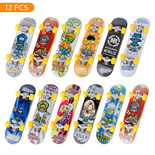 TIME4DEALS Mini Fingerboard Finger Skateboards Toy 12 PCS - Professional Fingerboards Finger Board Toy Set Creative Fingertips Movement Mini Skateboards Finger Sports Party Favors Novelty Toy for Kids
