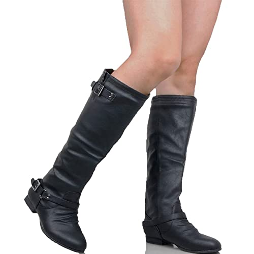e739857bc5e Guilty Heart Womens Strappy Buckle Elastic Panel Knee High Boots - Low Heel  Side Zipper Comfortable