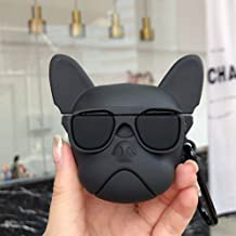 BONTOUJOUR AirPods Case, Creative Glass Wearing Twitching Mouth Bulldog Design AirPods Case, Novelty Puppy Soft Silicone E...